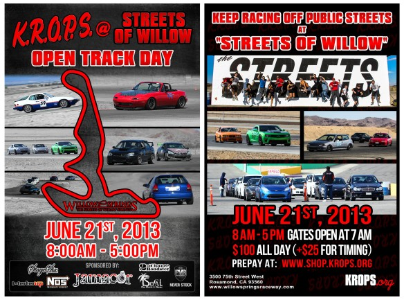 2013.6.21 - KROPS @ SOW Track Day Flyer Double